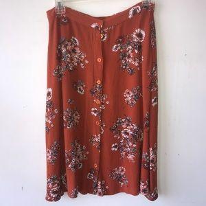 Dresses & Skirts - Orange floral button down knee length skirt